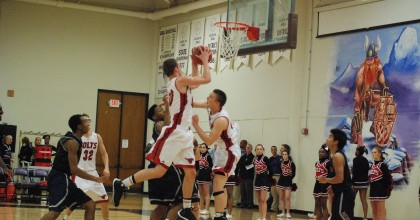 Senior Connor Kraus drives to the basket against Parkway South on Monday, Dec. 2. Photo by Emily Schenberg