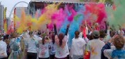 "The ""color throw"" occurs at the end of each Color Run, where a concert is held for participants. Photo courtesy of Aaron Brickman."