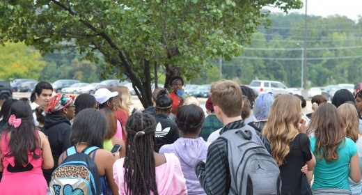 The protest was led by sophomore Maya Petty. Her and senior Sterling Waldman led the gathering of around 50 students. Photo by Piper Rother.
