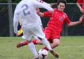 Playing against Parkway West on Oct. 1, junior Quinn Conlisk fights for the ball in the team's 2-0 victory. Photo by Shannon Flynn