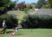 Senior Elizabeth Leath takes a tee shot at the State golf tournament on Oct. 14. Photo by Molly Pannett.