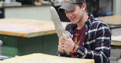 """Senior Dylan Haley takes advange of the art night on Jan. 28th, """"I go up to finish projects and to get more one on one time with Mr. Jafari,"""" Haley said. Photos by: Anthony Zuanichs."""