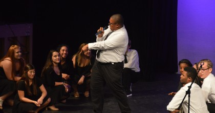"""Junior Anthony Blatter sings his solo to the Disney song """"Dig a little Deeper"""" on Oct.16."""