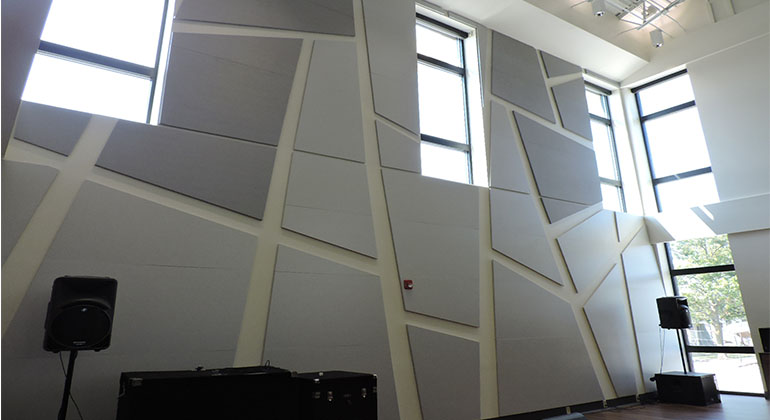 The new music rooms are equipped with sound panels that make it easier for the musicians to hear themselves as well as those around them. This is just one of the many added benefits to the newly renovated wing.